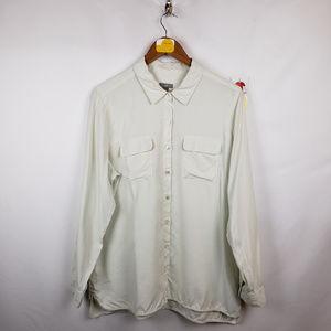 J. Jill Womens Blouse Large Long Sleeve Silk White